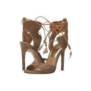 Dolce Vita Hunter Lace Up Feather Cork Heels 9